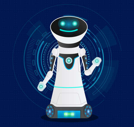 Futuristic friendly smiling cyborg with artificial intelligence. Dark blue background with electronic digital circles. High tech artificial intelligence cyber smart robot. Hitech developed humanoid 矢量图像