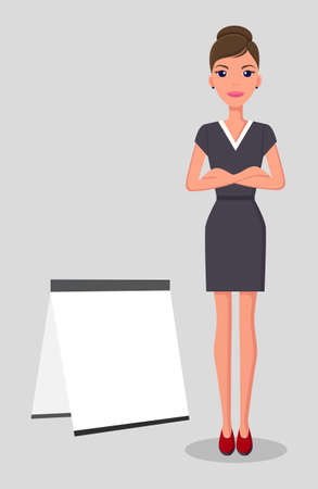 Beautiful young slim businesswoman stands near white signboard. Woman in dark business strict dress and red hills. Top manager or director. Attractive young woman. Flat image for web presentation