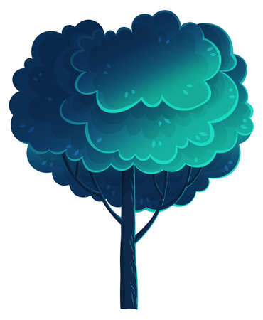 Deciduous tall tree, navy blue color, flat cartoon style isolated on white. Forest tree, magnificent crown. Oak, beech, hornbeam, diverse vegetation. Botanical illustration for games, banners, sites