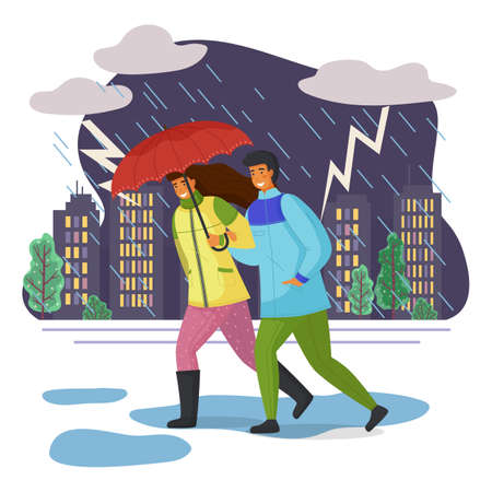 Long-haired woman wears green jacket, man in blue windbreaker walk with red umbrella in pouring rain, dangerous lightning flashes, thunder. Evening city, bad autumn weather, puddles. Thundercloud