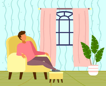 Guy relaxing in yellow cozy chair at home. Guy puts his feet on pouf. Dozing off at lunch time. Cozy living room interior, green floor, armchair, lush green potted plant, window with pink curtains