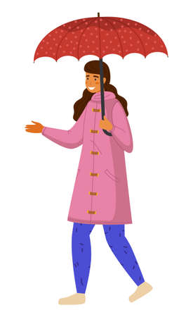 Happy girl in pink raincoat and blue pants with red dotted umbrella walks with her hand out. It starts to rain. Rainy weather does not spoil mood. Girl walks in the autumn rain. Flat vector image Vektoros illusztráció