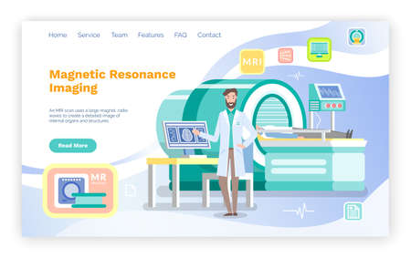 Landing Page Offer MRT Diagnosis. Radiologist invites patient to body brain scan of MRI machine. CT scan and diagnostics process in procedure room. MRI equipment. Magnetic Resonance Tomography