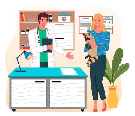 Girl with raccoon at reception at veterinarian. Doctor s office. First aid kit. Desk with lamp and diplomas on the wall. Indoor plant in pot. Vet gives advice on caring for raccoon to owner of animal