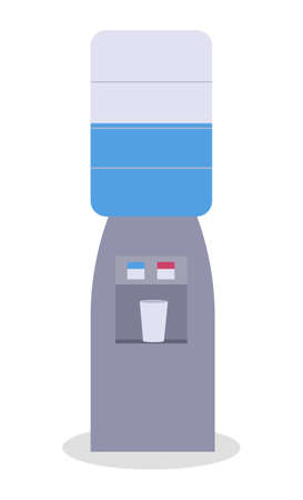 Office water cooler, water dispenser, heating or cooling, hot and cold. Red and blue indicator. Watercooler machine poster with construction made of gallon. Flat vector image isolated on white  イラスト・ベクター素材