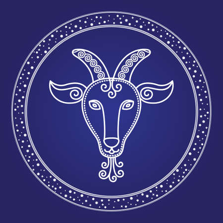 Capricorn zodiac constellation in starry circle isolated on blue color. Contour of space mystic character, element of birthday moth. Astrology card with outline of horns animal in round shape vector