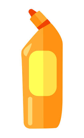 Cartoon rectangular orange plastic bottle with a red dispenser. Toilet cleaner liquid with a yellow oval label. Clean at home, washing , cleaning agent. Flat vector illustration on white background
