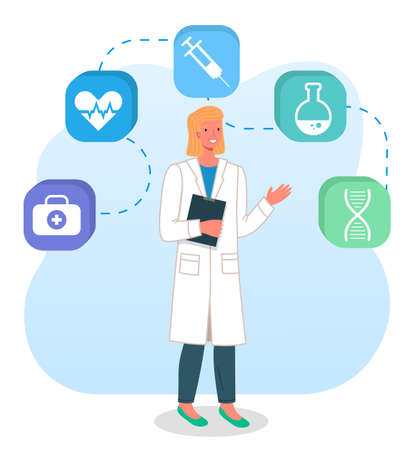 Young blonde doctor woman with a folder in her hands, a white medical coat, dashed line above her head with icons of medical items syringe, first aid case, flask, heart, dna. Healthcare concept Ilustrace