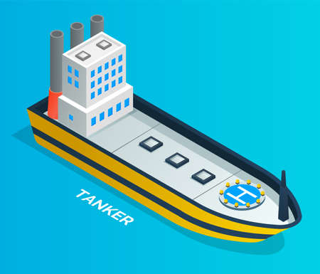 Isometric image of an oil tanker. Ships for transporting gasoline. Oil industry. Petroleum production, tanker, ship. Helicopter landing platform. Environmental pollution. Flat vector illustration