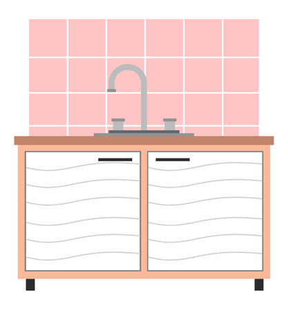White wide medical washbasin cupboard for hygiene procedures, storing medicines in vet clinic or office. Creative banner, flyer, landing page or a blog post for a vet clinic. Pink tile on the wall