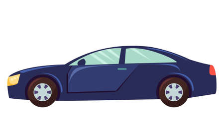 Blue car isolated on white background. Sedan with dark toned glasses. Auto to drive and get your destination quickly. Wheeled motor vehicle used for transportation. Vector illustration in flat style Ilustração