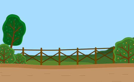 Country road, rural wooden fence, green meadow, flowering bushes, trees. Countryside. Summer time of the year. Clear sky. Flora and fauna. Nature landscape, background for games, trees, mountains Ilustração