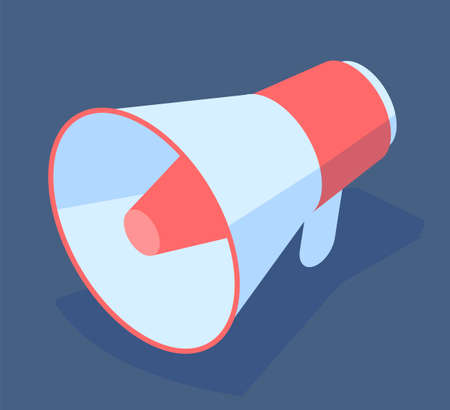 Big cartoon conceptual colorful megaphone. Call, lure, manifest. Involve, engage customers. Loudspeaker for promotional. Customer journey concept. Flat isometric vector image isolated on blue