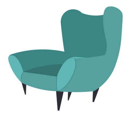 Cozy cartoon green armchair with wooden legs, chair with high rounded back, an interior item. Upholstery cushioned furniture. Stay at home. Sweet home. Interior design element vector illustration
