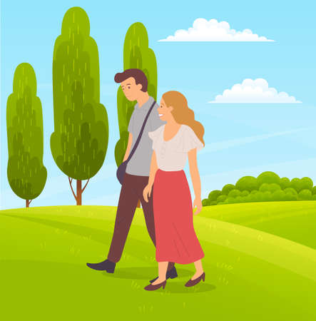 Romantic couple walks on green field, tall succulent trees, forest plants, succulent meadows, meadow, countryside. Summer time. Walks in open air. Flat vector image for website, banner, application 向量圖像