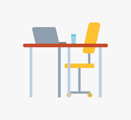 Work place with table, glass of water, notebook on desktop and chair on wheels isolated. Vector personal computer laptop, office furniture desk and seat