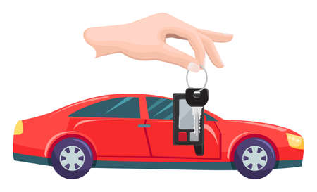 Car bought by character vector, hand with keys. Property transportation flat style. Automobile of modern type, owner with transport automotive sport. Buy new red car. Flat cartoon