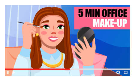 Young beautiful girl recording video. Videoblogger. Female doing 5 min office makeup. Fashion beauty blogger. Online channel concept, female video streamer. Woman brown haired shows ho to do make up