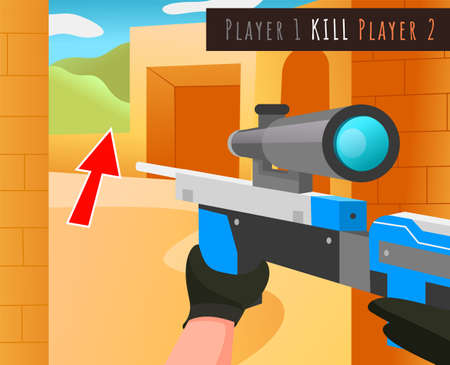 Screensaver of video strategic war game with hands hold weapons with optical sight flat vector illustration. Soldier character with a gun walking outside the building and lettering about player kill
