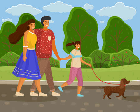 Family of three walks in park with dog, bright sun. Mom in blue skirt, girl holds leash, dad hugs wife. Green landscape, scenic area. Green summer picturesque area. Spend time with family outdoor