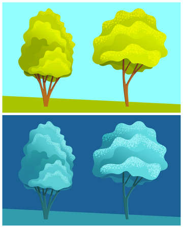 Day and night illustration view at trees at hill, dark blue and green view, scenery with clear sky, summer field with plants, nobody, ecological, non-urban, scene of countryside, cartoon flat style Çizim