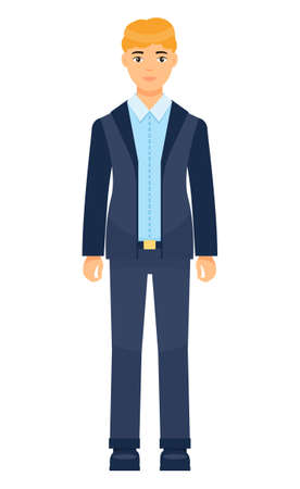 Isolated cartoon character businessman wearing stylish blue suit and tie. Man in jacket and trousers, blue shirt. Business person style. Dresscode of office worker. Blond-haired guy, cloth element Vector Illustratie
