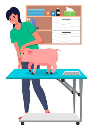 Piglet at reception of veterinarian. Veterinarian in protective uniform examines pet on vet table. Shelves with folders, medical records, medicine bottles, disposable wipes. Big green leaves Illustration