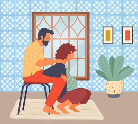 Pregnant woman is squatting, her husband on stool holds wife under arms. Woman in long term pregnancy. The husband helps his wife. Cozy home interior, pot plant. Maternity, labor, reproduction, birth