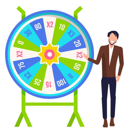 Game fortune wheel concept. Man playing risk game with fortune wheel and lottery. Casino and gambling vector. Illustration of casino fortune, wheel winner game. Young guy trying luck in casino