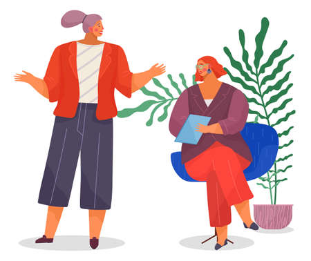 Office concept business people vector illustration workplace. Emotional woman manager makes surprised gesture with her hands talking to chief. Lady boss sitting on the chair holding report document