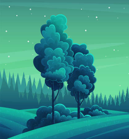 Night mixed forest. Dark blue green background. Tall tree with a magnificent crown. Deciduous wood, bright moon in the sky, stars. Cartoon design for banners, games, sites. Night forest landscape