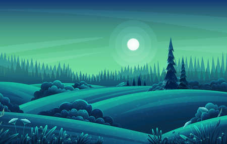 Night landscape with hills, dark forest, fir-trees, view at night scenery with clear sky and full moon, summer fields with bushes and plants, nobody, ecological, non-urban, scene of countryside, wild