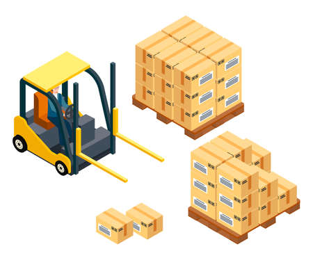 Loading boxes. Forklift machine, vehicle for loading, raising heavy boxes, packages. Wooden palette with cargo, boxes, parcels with labels. Man sitting inside industrial truck. Storage service Illusztráció