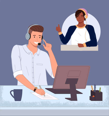 Man operator of call center or hotline working. Consultant with headset and computer talking with customer. Smiling man solved problem of client. Black satisfied guy show thumb up for good work 向量圖像