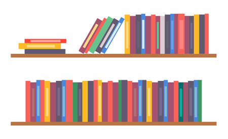Bookshelf with books, vector simple icon with collection or set of colorful folders, shelves with notebooks, wooden furniture for office using, element of interior design for home, books lean on row 向量圖像