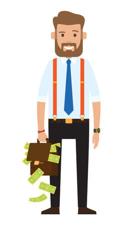 Successful rich businessman, banker, oligarch wearing stylish blue tie, suspenders, black trousers. Bearded guy in white shirt. Business person holding bag with a lot of money, smiling, happy rich guy