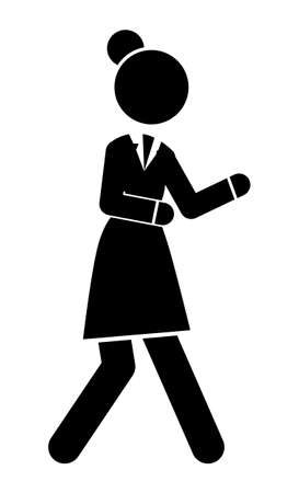 Businesswoman hurry up or walking, black and white avatar with businessperson silhouette wearing office dress, web icon, isolated female in office suit, dresscode, time out, deadline, simple icon Illustration