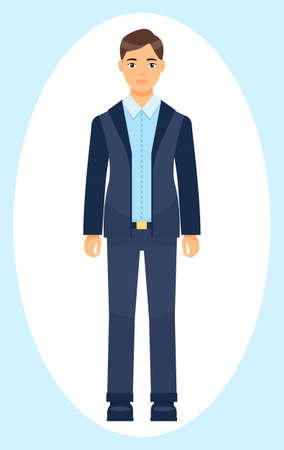 Isolated cartoon character businessman wearing stylish blue suit and tie. Man in jacket and trousers, blue shirt. Business person style. Dresscode of office worker. Brown-haired guy, cloth element 矢量图像