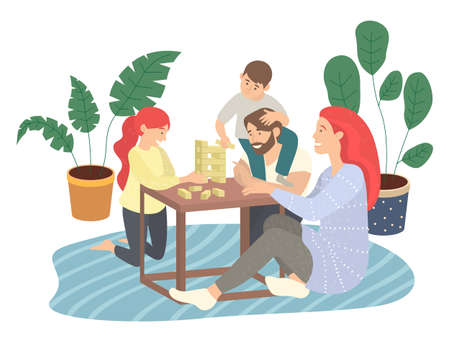 Father, mother, son, daughter playing jenga game sitting at floor on carpet, spend time together, moving blocks, parents playing indoor game with children. Happy family, home activity, people have fun