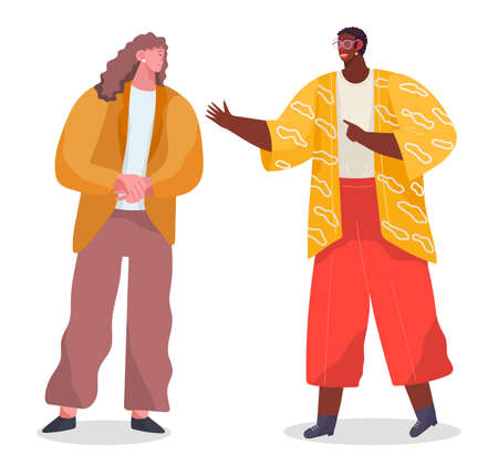 Conversation of two stylish people, black african man wearing eyeglasses talking with caucasian woman, colleagues talk, office workers, friends meeting, isolated cartoon characters, flat style Ilustração