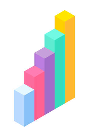 3d growing graphic. Isometric infographics. Financial strategy. Visual presentation. Analysis info business statistic. Digital marketing. Visualization of chart with different sizes columns flat style