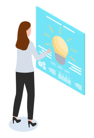 Woman using touchscreen, lamp bulb, office worker at high heels customize settings at screen, new idea concept, touch digital board, tuning, isometric 3d illustration in flat style, cartoon character 矢量图像