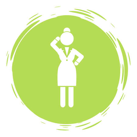 Businesswoman green circle portrait, stamp style, thinking businessperson, thoughtful woman avatar sign wearing office suit dress, keeping dress code, female gesturing hand, anonymous person lady