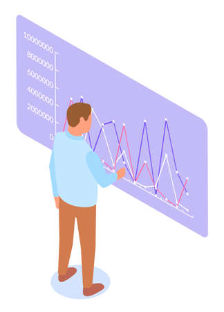 Businessman with holographic presentation. Data charts and statistics diagrams on board vector illustration. Man project manager analyze data. Business person specialist analyst look at report 向量圖像