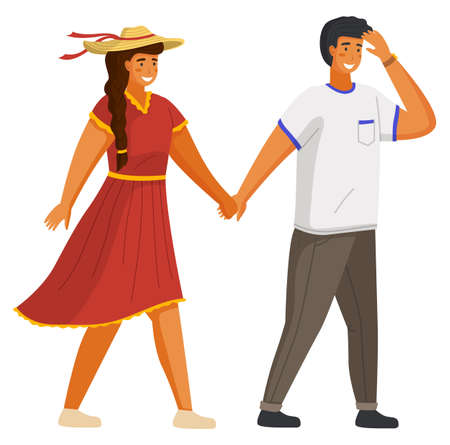 Couple walking together. Young guy and girl wearing a light dress and a straw hat holding hands walking outdoor isolated on white background. Friends man and woman meeting on a date sunny day