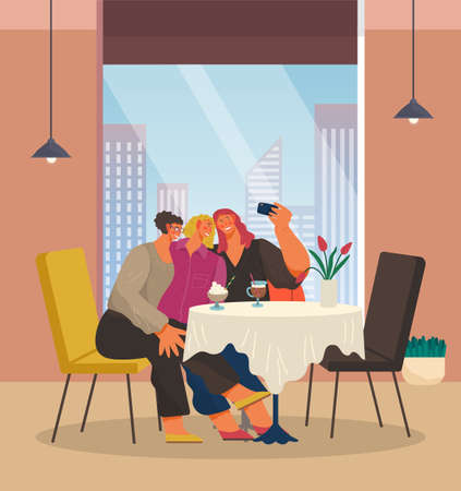 Selfie flat vector illustration. Three smiling women at table with cocktail glasses taking self photo on smartphone camera. Meeting good old friends. Hen-party cartoon characters in a restaurant 向量圖像