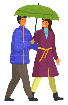 Couple goes in rain. Happy man and woman are walking along city street under an umbrella isolated on white background. Beautiful married people have romantic relationship, cartoon flat characters Ilustração