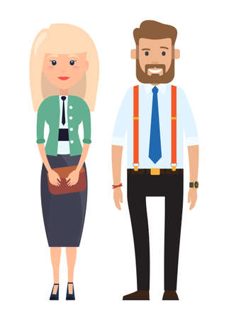 Stylish businessmen. Cartoon man and wooman characters in fashion clothes. Bearded man in a shirt with a tie, suspender pants. Blonde businesswoman with clutch bag in hand flat style illustration