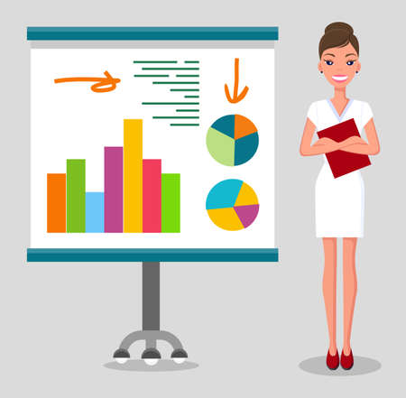 Confident young woman gives a report, smiling businesswoman standing near flipchart with statistical indicators diagrams. Business presentation and project management concept vector illustration