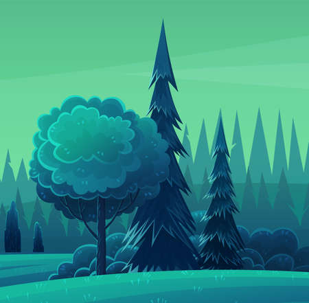 Night in forest, vector cartoon illustration. Hills and tall trees, pine forest on the horizon, lush bushes, clear starry sky. Beautiful nighttime landscape. Green plant and grass rural land Ilustración de vector